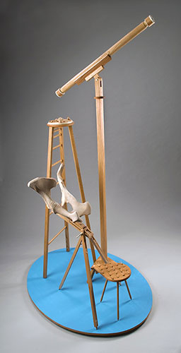 View 2: Georgia O'Keefe meets Galileo Galilei . sculpture . 2014 . oak, bone, and plywood . 90inx54inx41in