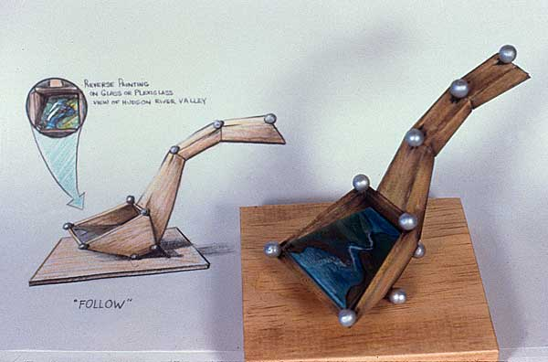 Maquette & Drawing . Follow: The River and the Drinkin' Gourd . 2002 . wood & Plexiglass . 72inx48inx60in