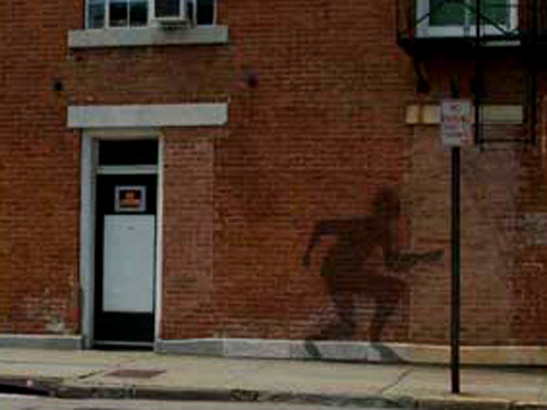 Spirits of the Underground Railroad . Running Shadow Projections Downtown for the Peekskill Project . 2005
